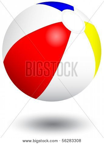 Vector illustration of an inflatable beach ball. All objects and details are isolated. Colors and white background color are easy to adjust/customize. Shadow effect is optional.