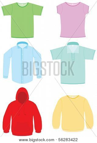 Vector illustration of six different clothes. All objects and details are isolated. Colors and white background color are easy to adjust/customize.