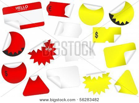 Vector illustration set of blank (retail) tags with peeled edges. All vector objects are isolated and grouped. Tags have a transparent background. Colors are easy to adjust/customize.