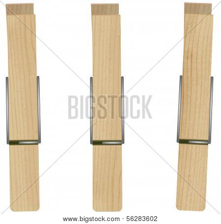 Vector illustration of clothespins (pegs).