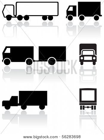 Vector set of different truck symbols. All vector objects are isolated. Colors and transparent background color are easy to adjust.