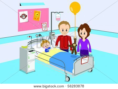 Illustration of parents visiting their child in hospital. All vector objects and details are isolated and grouped. This illustration is a part of a story about a child in hospital.