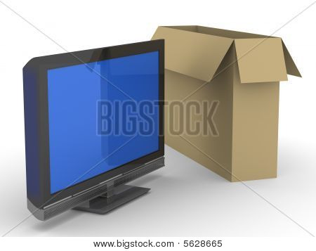 Tv And Box On White Background. Isolated 3D Image