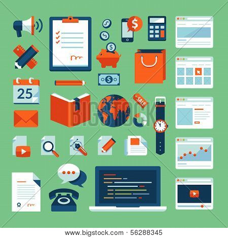 Flat design vector illustration concept icons set of business working elements