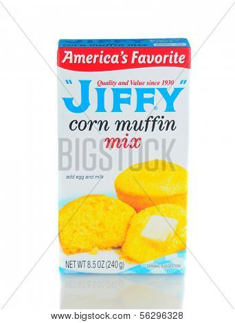IRVINE, CA - January 21, 2013: A 8.5 ounce box of Jiffy Corn Muffin Mix. Manufactured by the Chelsea Milling Company since 1930.