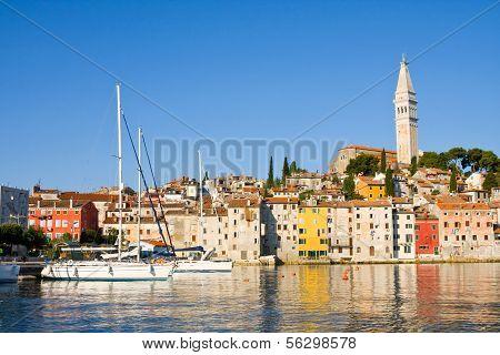 The Pier And The City Of Rovinj On Istria Peninsula In Croatia