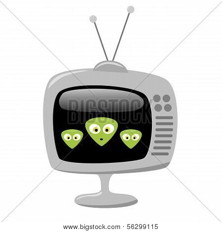 Cartoon Alien Faces On A Tv Screen, Eps10 Vector