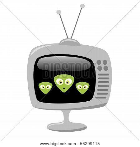 Cartoon Alien Faces On A Tv Screen, Eps10 Vector