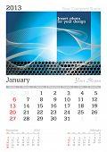 January 2013 A3 calendar - vector illustration poster