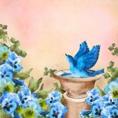 Romantic pastel watercolor and drawing garden scene. Bluebird splashing in a bird bath among beautiful pansy flowers. Concept design with symbol of happiness love and joy. Artistic floral painting poster