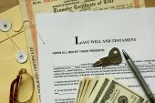 last will and testament with dollar certificate and key. poster