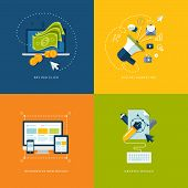 Icons for pay per click internet advertising, digital marketing, responsive web design and graphic design. poster