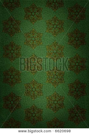Gold Snowflake Pattern On Green Leather