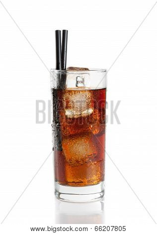 Fresh Coke With Straw Isolated, Summer Time
