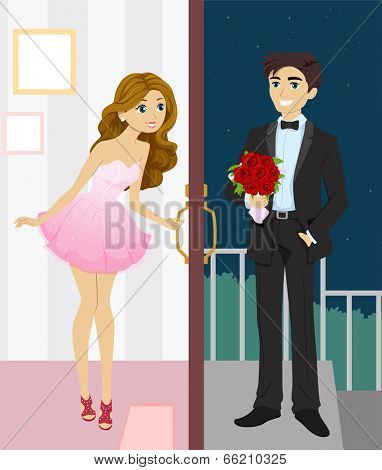 Illustration of a Pretty Girl Meeting Her Date at the Doorstep