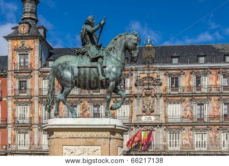 Monument To King Philip Iii Of Spain On The Plaza Mayor In Madrid