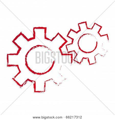 stylized vector red cogs creativity business symbol poster