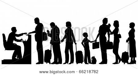 Illustrated silhouettes of a queue of people at an immigration desk