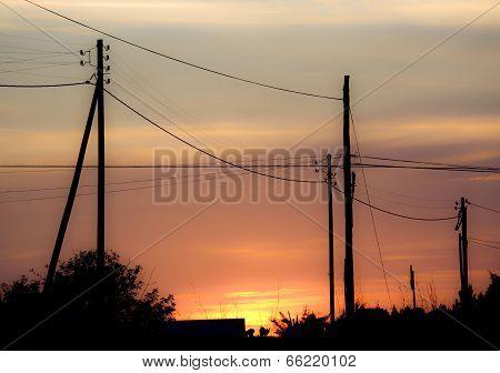 tramonto spettacolare sull' isola di formentera visto dalla campagna. poster