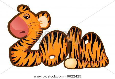 sign 2010 years is a beautiful little tiger on a white background poster