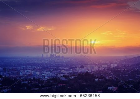 Los Angeles sunset . Aerial view over Hollywood and Century City.