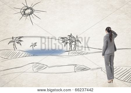 Asian business woman find a oasis, photo compilation with hand drawing background.