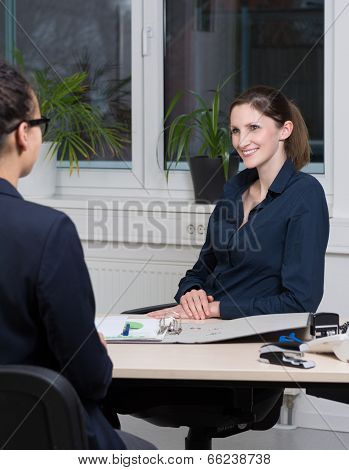Two Businesswomen Are In A Meeting