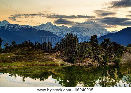 Deoria Tal Lake and Himalayas