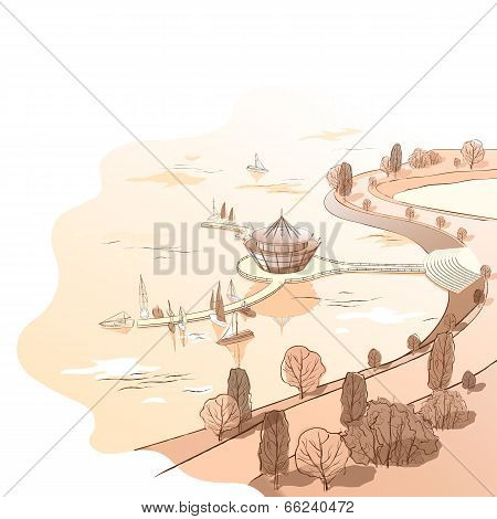Vector sepia linear landscape with quay and boats