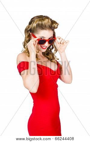 Girl Adjusting Glasses To Flashback A 1950S Look