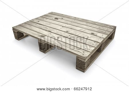 Wooden warehouse pallets on white background -Clipping Path