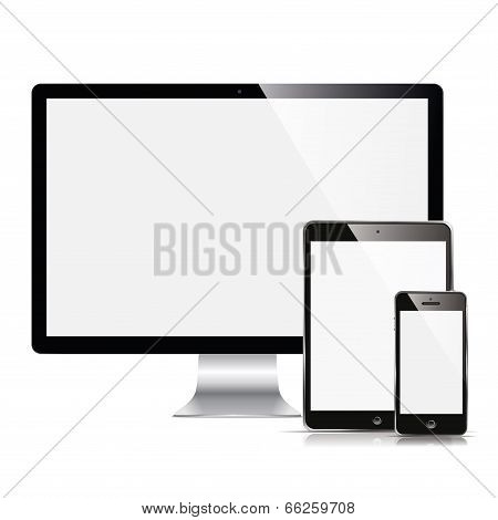 monitor, tablet and phone