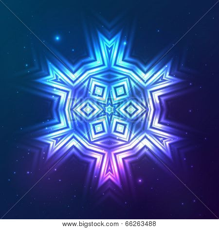 Cosmic blue shining lights vector abstract snowflake poster