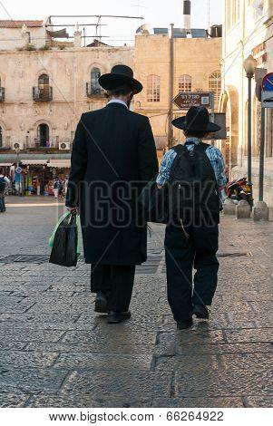Orthodox Jewish Father & Son In Jerusalem