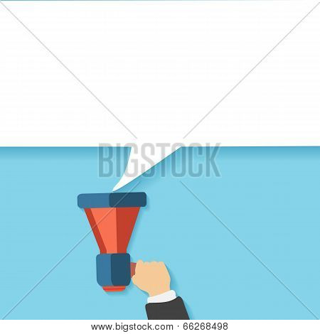 Hand Holding A Yellow Megaphone With Bubble