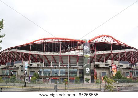 LISBON, PORTUGAL- MAY 29, 2014 : Exterior view of the Estadio da Luz stadium. Estadio da Luz is a multi-purpose stadium that opened in 2003 and is the home base of the football team Benfica SL.