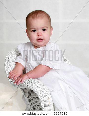 Baby Girl In Long White Dress