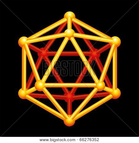 Icosahedron Gold Three-dimensional Shape