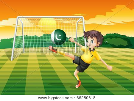 Illustration of an athlete kicking the ball with the flag of Pakistan poster