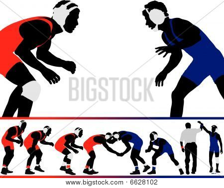 A set of wrestling vector silhouette illustrations. poster