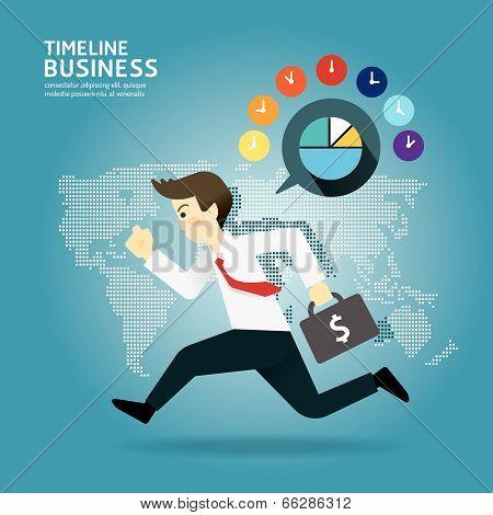 Concept Of Successful Timeline Businessman Cartoon Run Design.