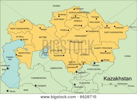 Kazakhstan, Administrative Districts, Capitals and Surrounding Countries