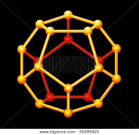 Dodecahedron Gold Three-dimensional Shape