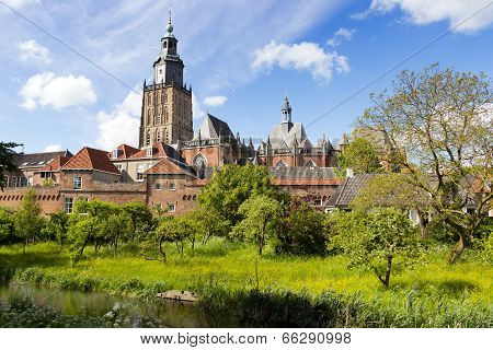 View on the St. Walburgis Church and the city wall of the historic city of Zutphen. Gelderland The Netherlands. poster