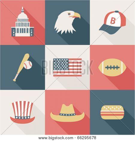 set of flat USA icons