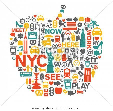 New York City NYC icons and symbols big apple