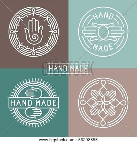 Vector Hand Made Label In Outline Trendy Style