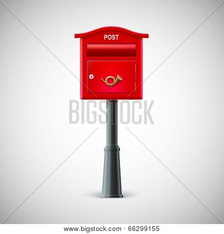 Red mailbox hanging on the wall, logo postal horn.