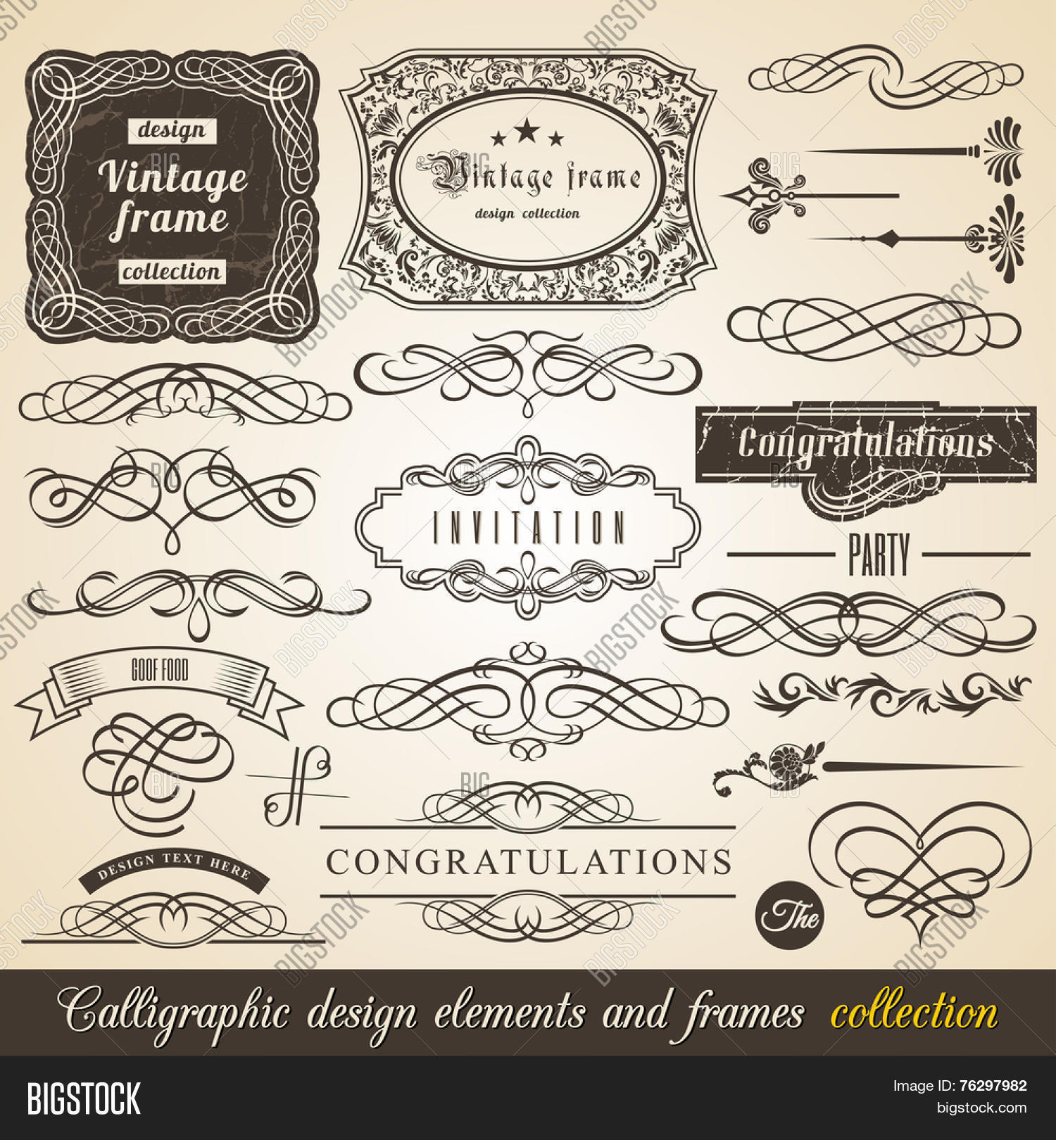 Vector calligraphic vector photo free trial bigstock vector calligraphic element border corner frame and invitation collection decoration typographic elements vintage labels stopboris Choice Image