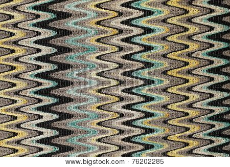 Blue, Yellow And Grey Waves Vertical Lines Pattern Fabric